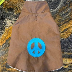Dog Brown coat with blue peace sign size L?